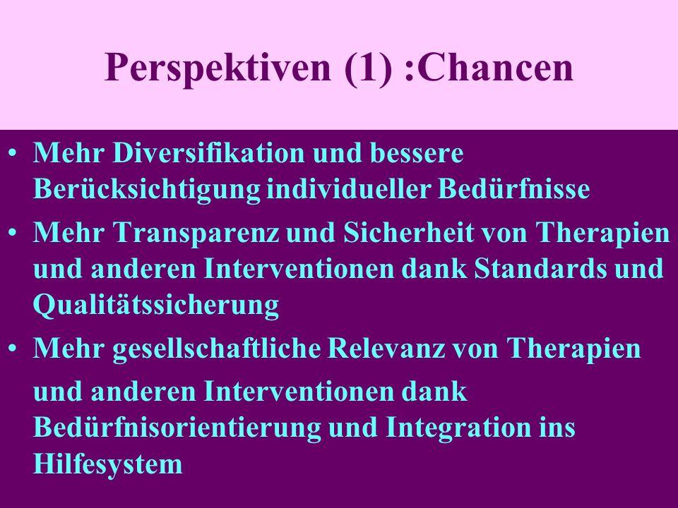 Perspektiven (1) :Chancen Mehr Diversifikation und bessere Berücksichtigung individueller Bedürfnisse Mehr Transparenz und Sicherheit von Therapien und anderen Interventionen dank Standards und Qualitätssicherung Mehr gesellschaftliche Relevanz von Therapien und anderen Interventionen dank Bedürfnisorientierung und Integration ins Hilfesystem
