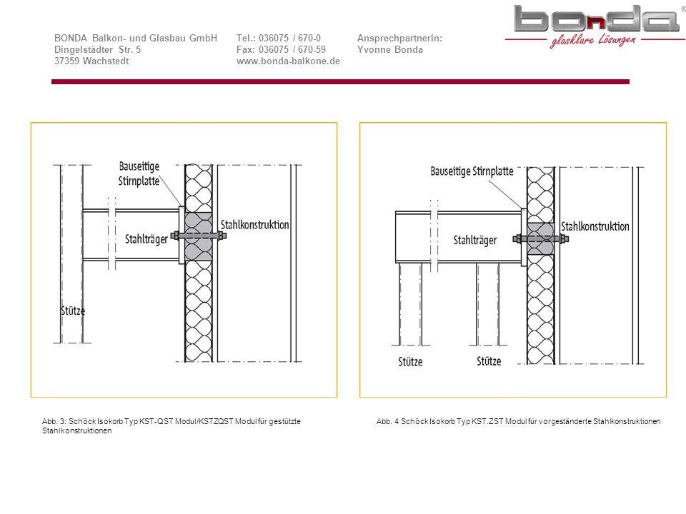 Ansichten Schöck Isokorb® Typ KST-ZQST 22 Modul Stahl/Stahl BONDA Balkon- und Glasbau GmbHTel.: 036075 / 670-0Ansprechpartnerin: Dingelstädter Str.