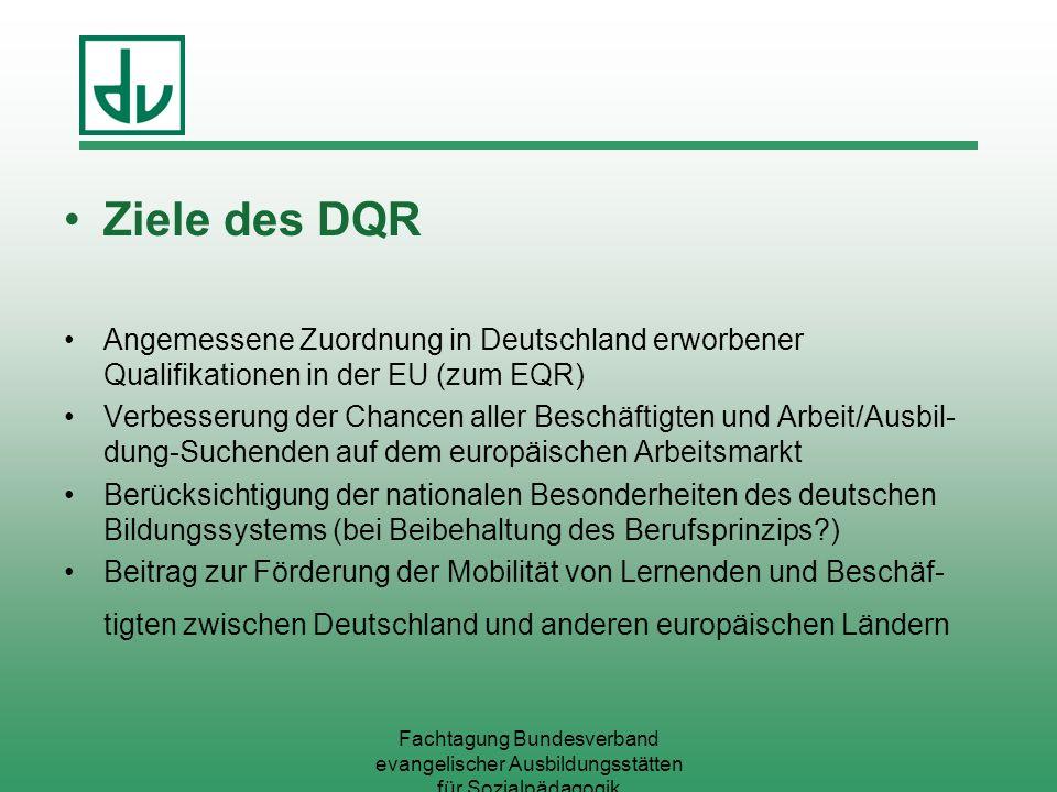 Fachtagung Bundesverband evangelischer Ausbildungsstätten für Sozialpädagogik Ziele des DQR Angemessene Zuordnung in Deutschland erworbener Qualifikat