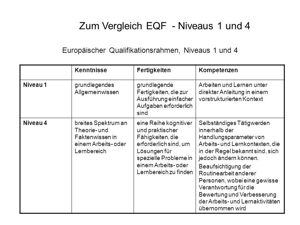 Europäischer Qualifikationsrahmen, Niveaus 1 und 4 KenntnisseFertigkeitenKompetenzen Niveau 1grundlegendes Allgemeinwissen grundlegende Fertigkeiten,