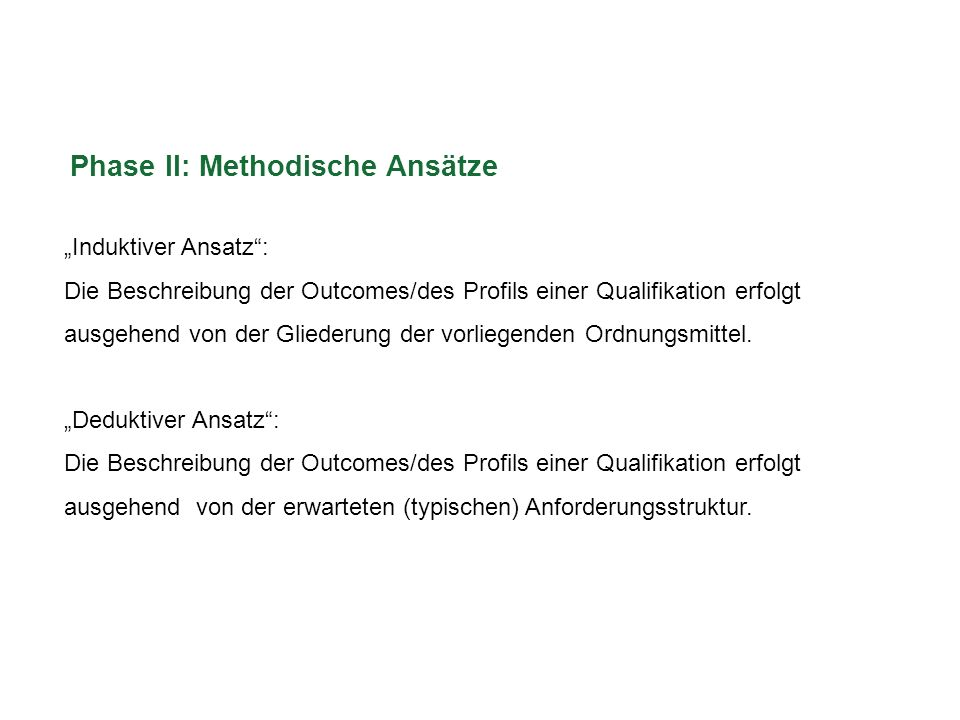 Phase II: Methodische Ansätze Induktiver Ansatz: Die Beschreibung der Outcomes/des Profils einer Qualifikation erfolgt ausgehend von der Gliederung de