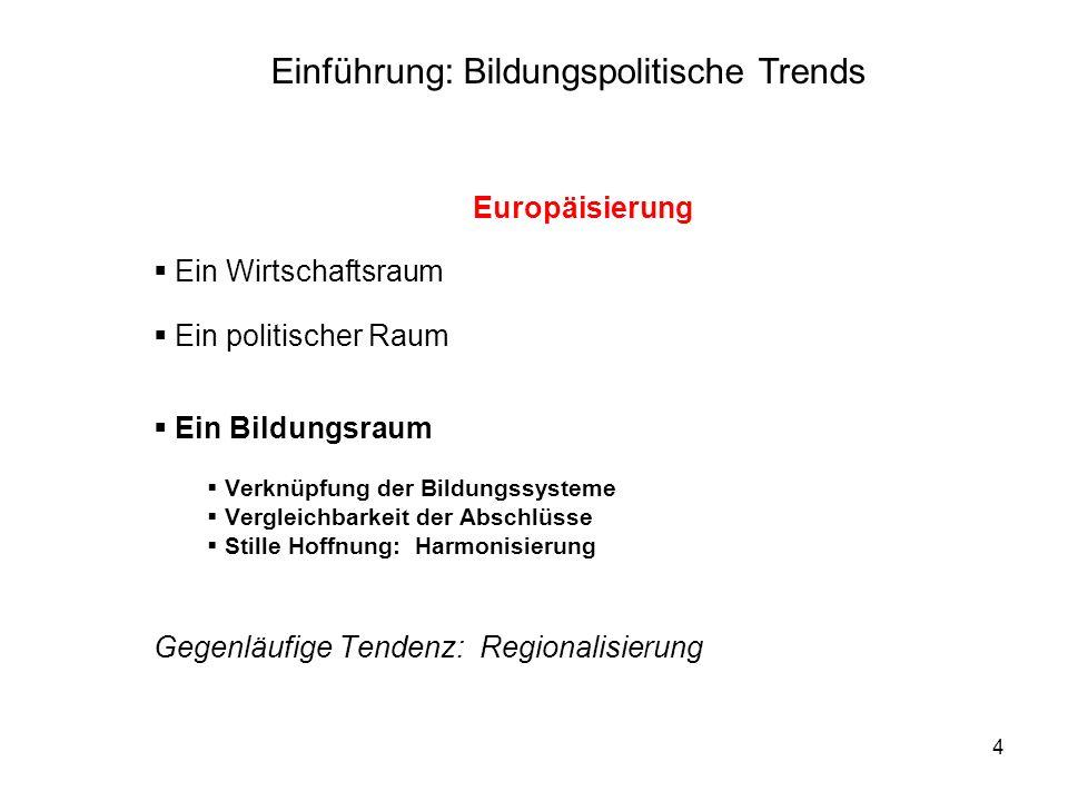 4 Europäisierung Ein Wirtschaftsraum Ein politischer Raum Ein Bildungsraum Verknüpfung der Bildungssysteme Vergleichbarkeit der Abschlüsse Stille Hoff