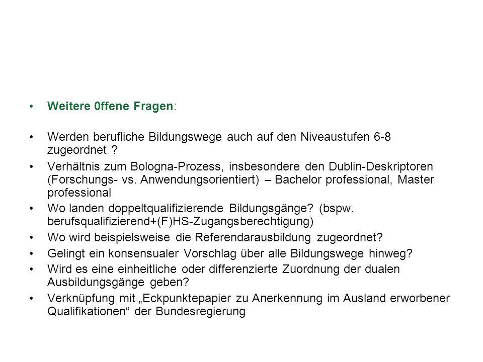 Weitere 0ffene Fragen: Werden berufliche Bildungswege auch auf den Niveaustufen 6-8 zugeordnet ? Verhältnis zum Bologna-Prozess, insbesondere den Dubl