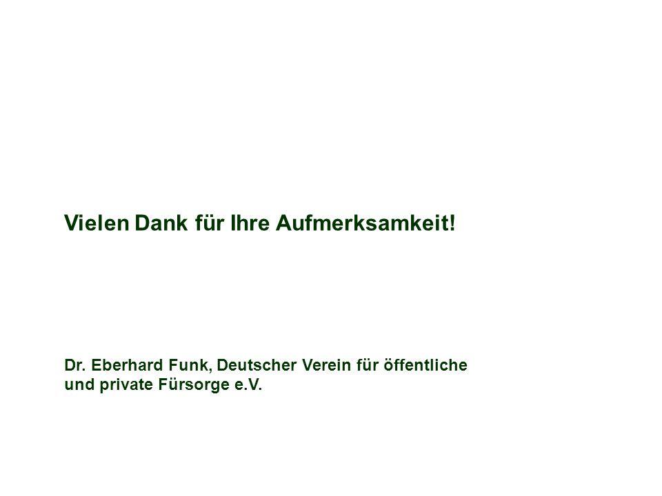 Vielen Dank für Ihre Aufmerksamkeit! Dr. Eberhard Funk, Deutscher Verein für öffentliche und private Fürsorge e.V.