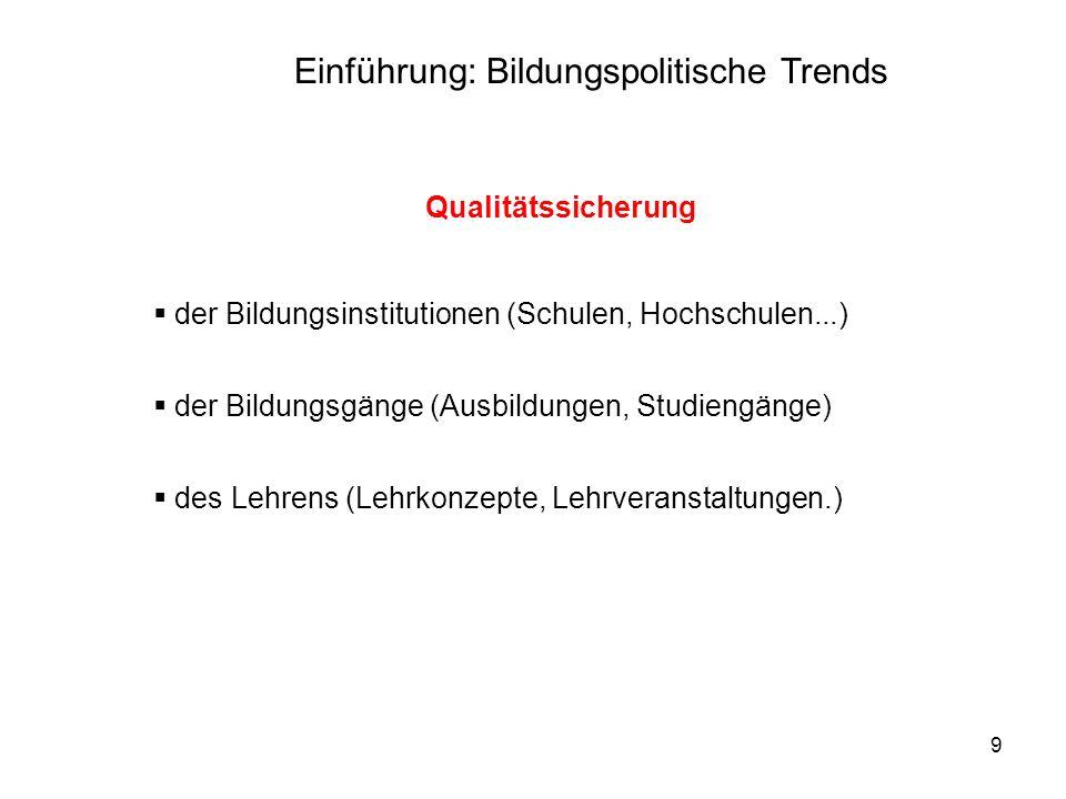 9 Qualitätssicherung der Bildungsinstitutionen (Schulen, Hochschulen...) der Bildungsgänge (Ausbildungen, Studiengänge) des Lehrens (Lehrkonzepte, Leh