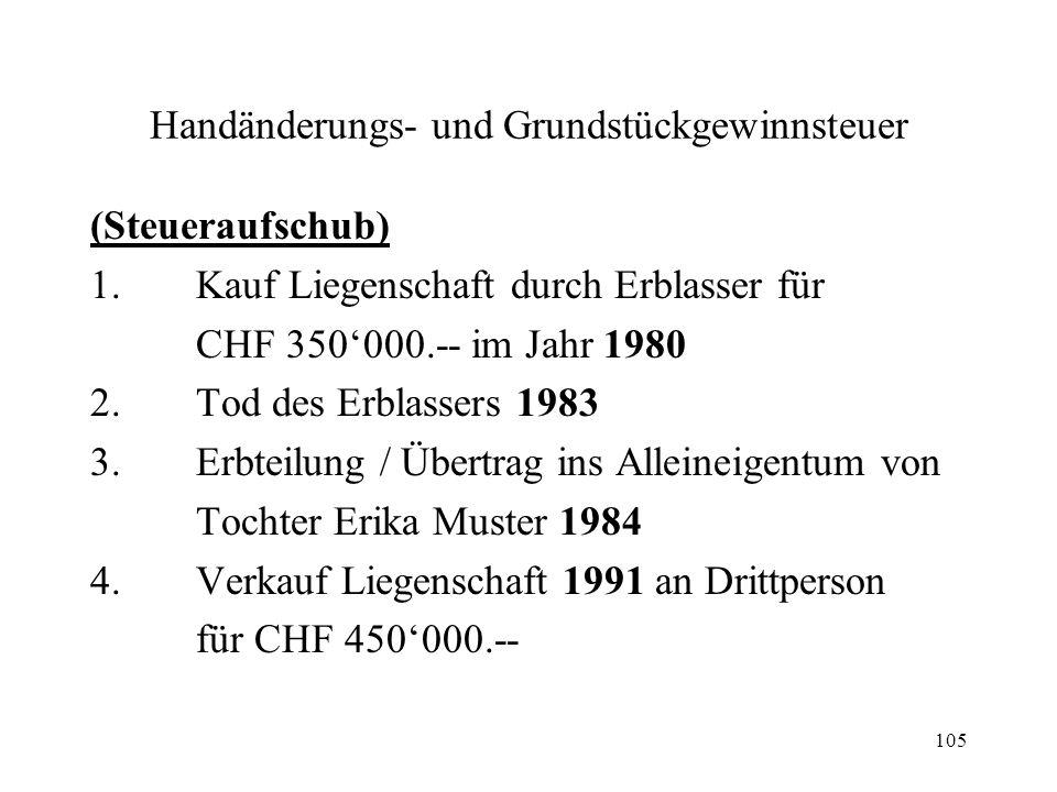 105 Handänderungs- und Grundstückgewinnsteuer (Steueraufschub) 1.Kauf Liegenschaft durch Erblasser für CHF 350000.-- im Jahr 1980 2.Tod des Erblassers