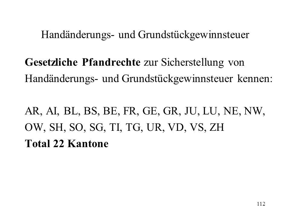112 Handänderungs- und Grundstückgewinnsteuer Gesetzliche Pfandrechte zur Sicherstellung von Handänderungs- und Grundstückgewinnsteuer kennen: AR, AI,