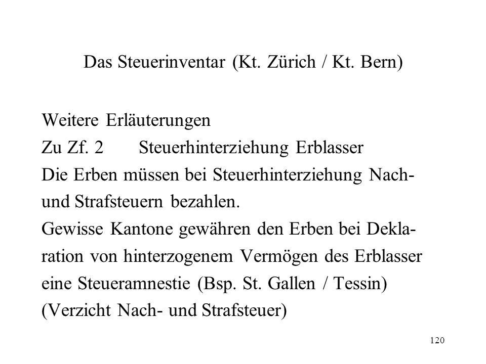 120 Das Steuerinventar (Kt. Zürich / Kt. Bern) Weitere Erläuterungen Zu Zf. 2Steuerhinterziehung Erblasser Die Erben müssen bei Steuerhinterziehung Na