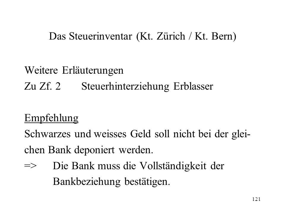 121 Das Steuerinventar (Kt. Zürich / Kt. Bern) Weitere Erläuterungen Zu Zf. 2Steuerhinterziehung Erblasser Empfehlung Schwarzes und weisses Geld soll