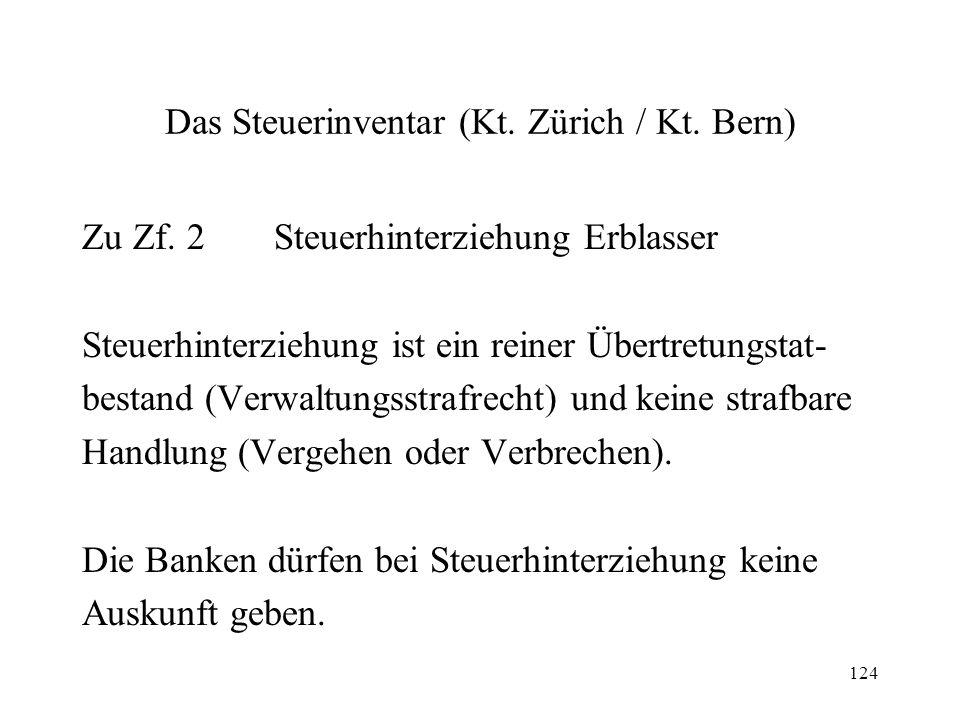 124 Das Steuerinventar (Kt. Zürich / Kt. Bern) Zu Zf. 2Steuerhinterziehung Erblasser Steuerhinterziehung ist ein reiner Übertretungstat- bestand (Verw