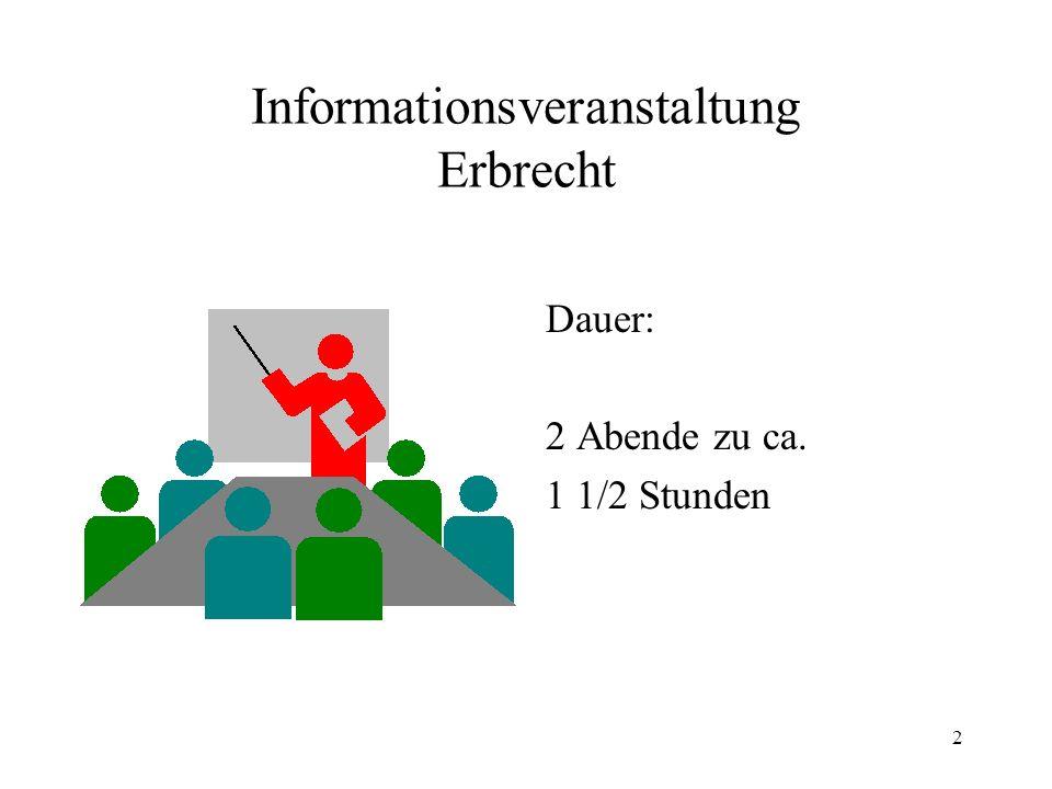 2 Informationsveranstaltung Erbrecht Dauer: 2 Abende zu ca. 1 1/2 Stunden