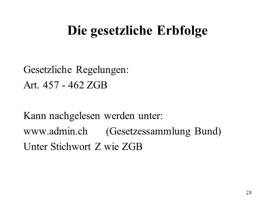 28 Die gesetzliche Erbfolge Gesetzliche Regelungen: Art. 457 - 462 ZGB Kann nachgelesen werden unter: www.admin.ch(Gesetzessammlung Bund) Unter Stichw