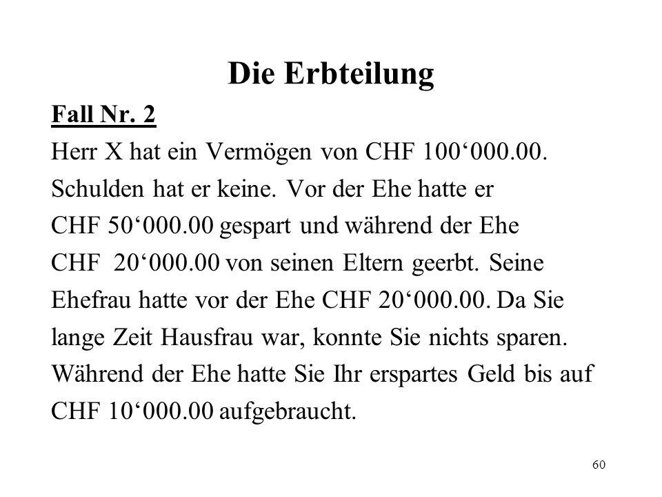 60 Die Erbteilung Fall Nr. 2 Herr X hat ein Vermögen von CHF 100000.00. Schulden hat er keine. Vor der Ehe hatte er CHF 50000.00 gespart und während d