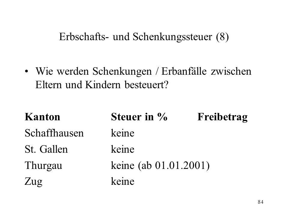 84 Erbschafts- und Schenkungssteuer (8) Wie werden Schenkungen / Erbanfälle zwischen Eltern und Kindern besteuert? KantonSteuer in %Freibetrag Schaffh