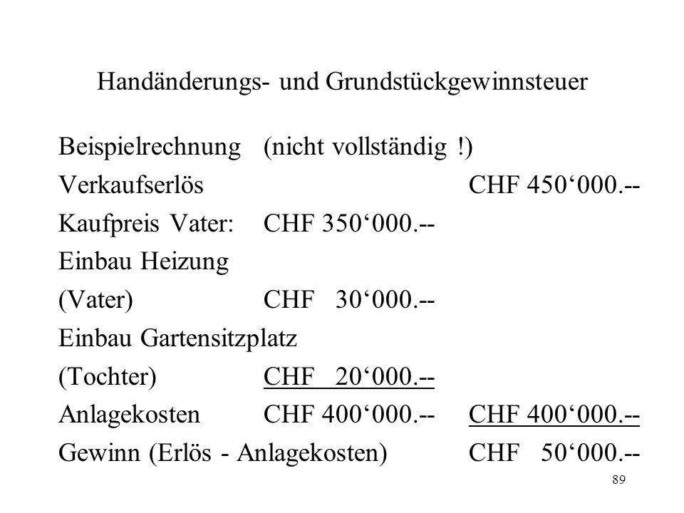 89 Handänderungs- und Grundstückgewinnsteuer Beispielrechnung(nicht vollständig !) VerkaufserlösCHF 450000.-- Kaufpreis Vater:CHF 350000.-- Einbau Hei