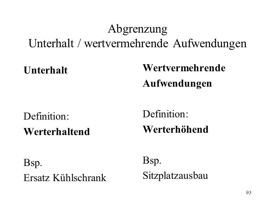 93 Abgrenzung Unterhalt / wertvermehrende Aufwendungen Unterhalt Definition: Werterhaltend Bsp. Ersatz Kühlschrank Wertvermehrende Aufwendungen Defini
