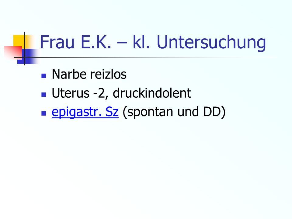 Frau E.K. – kl. Untersuchung Narbe reizlos Uterus -2, druckindolent epigastr. Sz (spontan und DD)