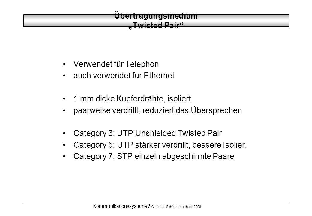 Kommunikationssysteme 6 © Jürgen Schüler, Ingelheim 2006 ÜbertragungsmediumCoax Bessere Abschirmung, größere Entfernungen für hohe Frequenzen (HF-Kabel), Kabelfernsehen Bandbreite hängt von der Länge ab, z.B 1-2 Gbps bei 1 km Länge 50 Ohm für Ethernet und Antennen 75 Ohm für Video bis in den GHz-Bereich