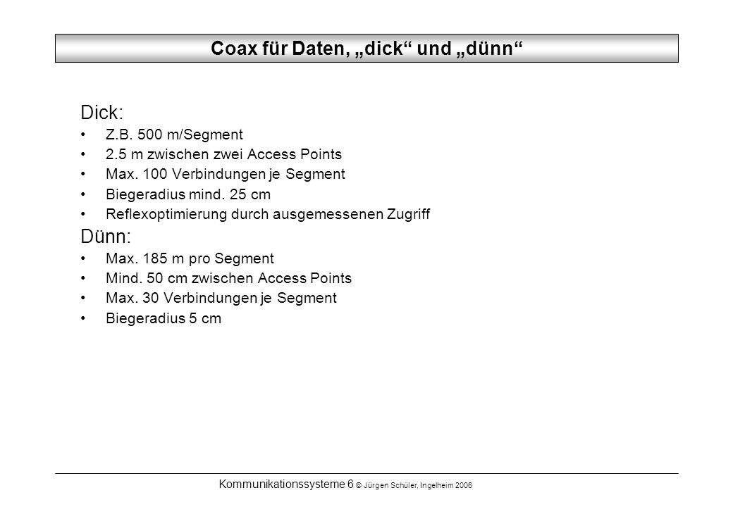 Kommunikationssysteme 6 © Jürgen Schüler, Ingelheim 2006 ADSL-1, 2, 3 ADSL 1 – auf MPEG 1 Distribution ausgelegt: Downlink 1.536 Mbps (T1) Uplink 16 kbps Analoger Telefonkanal 4 kHz oder B+B ISDN In USA ADSL 2, 3, auf MPEG 2 ausgelegt In Deutschland Angebot Telekom nach Europäisch üblichen Standards + ISDN + T-Online