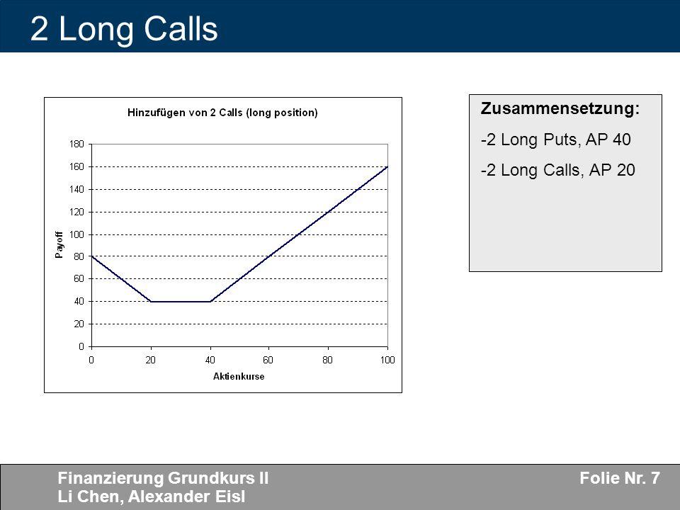 Finanzierung Grundkurs II Li Chen, Alexander Eisl Folie Nr. 7 2 Long Calls Zusammensetzung: -2 Long Puts, AP 40 -2 Long Calls, AP 20
