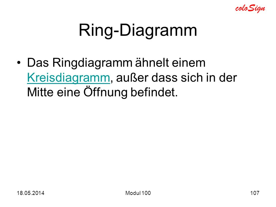 coloSign Ring-Diagramm Das Ringdiagramm ähnelt einem Kreisdiagramm, außer dass sich in der Mitte eine Öffnung befindet. Kreisdiagramm 18.05.2014Modul