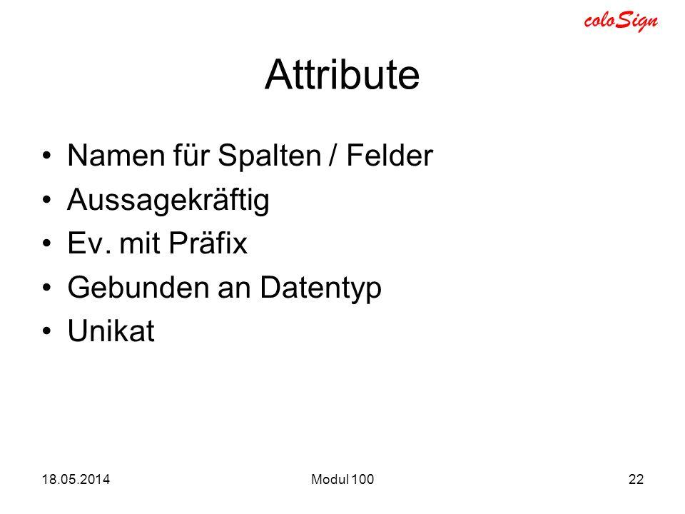 coloSign Attribute Namen für Spalten / Felder Aussagekräftig Ev. mit Präfix Gebunden an Datentyp Unikat 18.05.2014Modul 10022