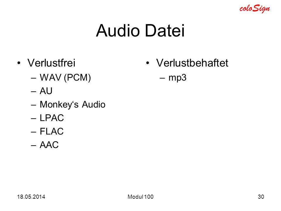 coloSign 18.05.2014Modul 10030 Audio Datei Verlustfrei –WAV (PCM) –AU –Monkeys Audio –LPAC –FLAC –AAC Verlustbehaftet –mp3