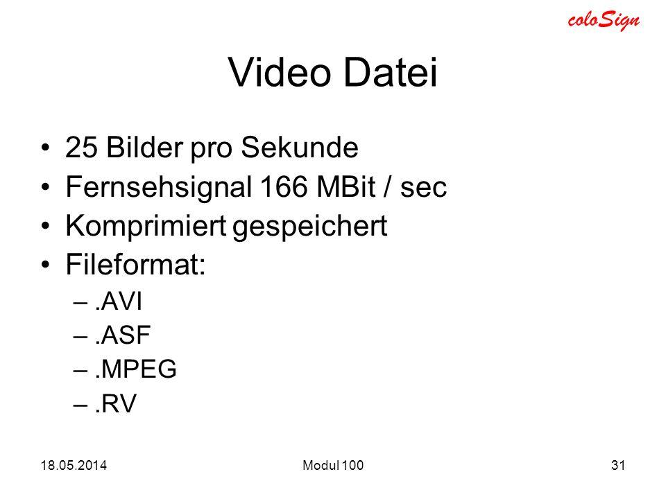 coloSign 18.05.2014Modul 10031 Video Datei 25 Bilder pro Sekunde Fernsehsignal 166 MBit / sec Komprimiert gespeichert Fileformat: –.AVI –.ASF –.MPEG –