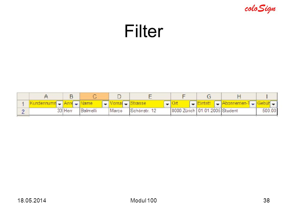 coloSign 18.05.2014Modul 10038 Filter