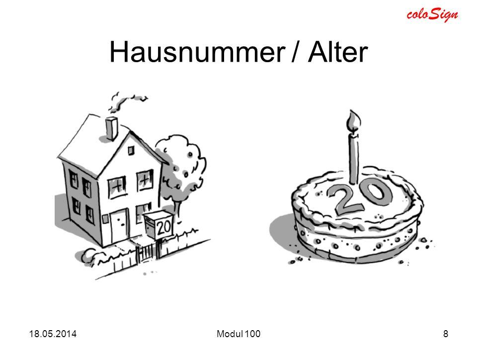 coloSign 18.05.2014Modul 1008 Hausnummer / Alter