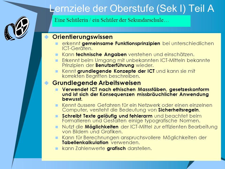 Lernziele der Oberstufe (Sek I) Teil A Orientierungswissen erkennt gemeinsame Funktionsprinzipien bei unterschiedlichen ICT-Geräten. Kann technische A