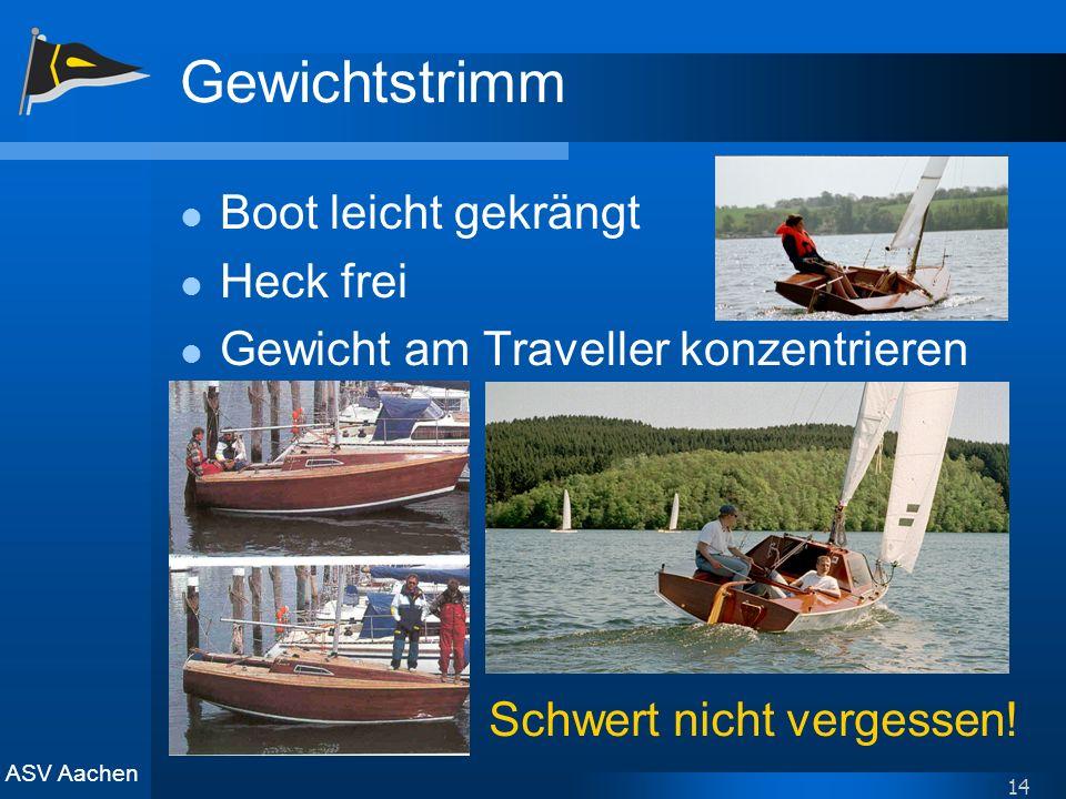 ASV Aachen 14 Gewichtstrimm Boot leicht gekrängt Heck frei Gewicht am Traveller konzentrieren Schwert nicht vergessen!