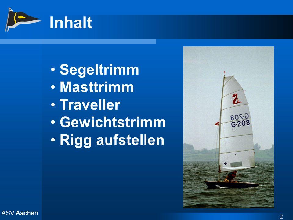ASV Aachen 2 Inhalt Segeltrimm Masttrimm Traveller Gewichtstrimm Rigg aufstellen