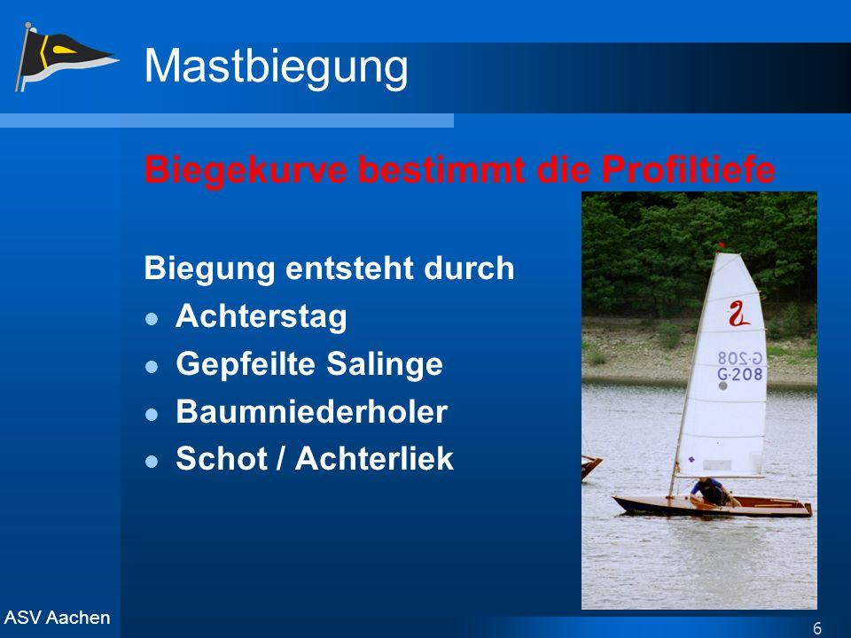ASV Aachen 6 Mastbiegung Biegekurve bestimmt die Profiltiefe Biegung entsteht durch Achterstag Gepfeilte Salinge Baumniederholer Schot / Achterliek