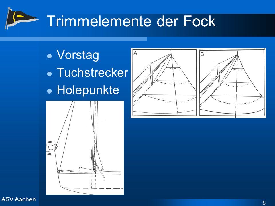 ASV Aachen 8 Trimmelemente der Fock Vorstag Tuchstrecker Holepunkte