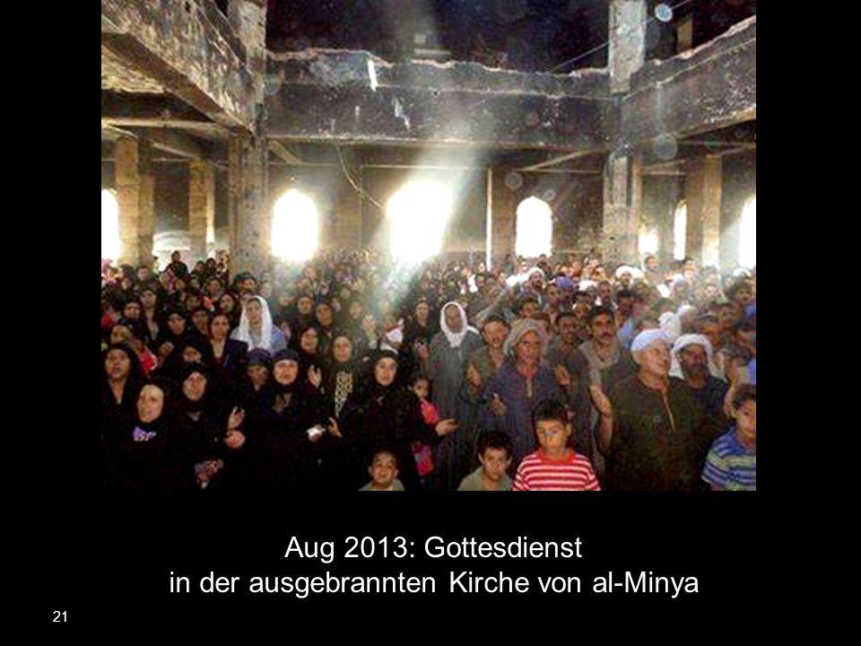 21 Aug 2013: Gottesdienst in der ausgebrannten Kirche von al-Minya