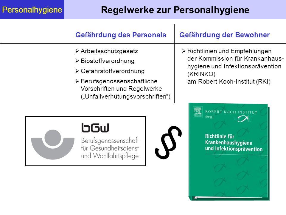 Personalhygiene Regelwerke zur Personalhygiene Arbeitsschutzgesetz Biostoffverordnung Gefahrstoffverordnung Berufsgenossenschaftliche Vorschriften und