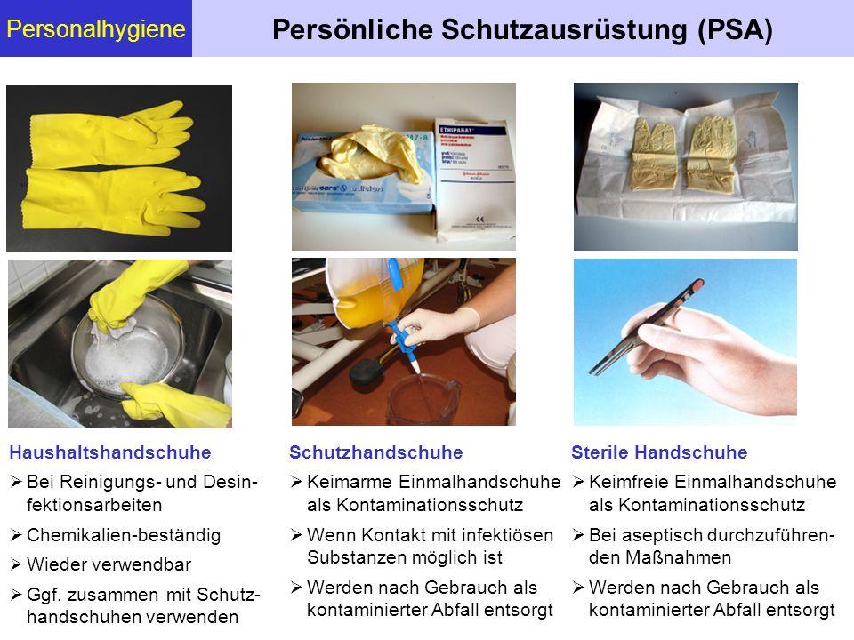 Personalhygiene Persönliche Schutzausrüstung (PSA) Sterile Handschuhe Keimfreie Einmalhandschuhe als Kontaminationsschutz Bei aseptisch durchzuführen-