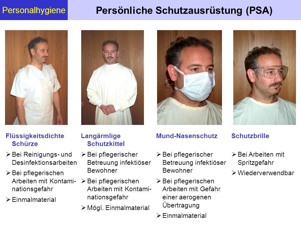 Personalhygiene Persönliche Schutzausrüstung (PSA) Flüssigkeitsdichte Schürze Bei Reinigungs- und Desinfektionsarbeiten Bei pflegerischen Arbeiten mit
