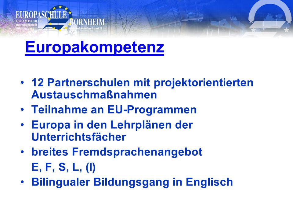 12 Partnerschulen mit projektorientierten Austauschmaßnahmen Teilnahme an EU-Programmen Europa in den Lehrplänen der Unterrichtsfächer breites Fremdsp