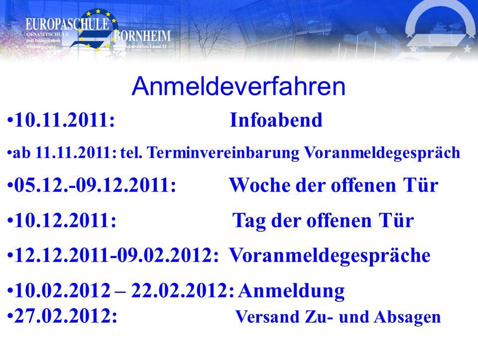 Anmeldeverfahren 10.11.2011: Infoabend ab 11.11.2011: tel. Terminvereinbarung Voranmeldegespräch 05.12.-09.12.2011: Woche der offenen Tür 10.12.2011: