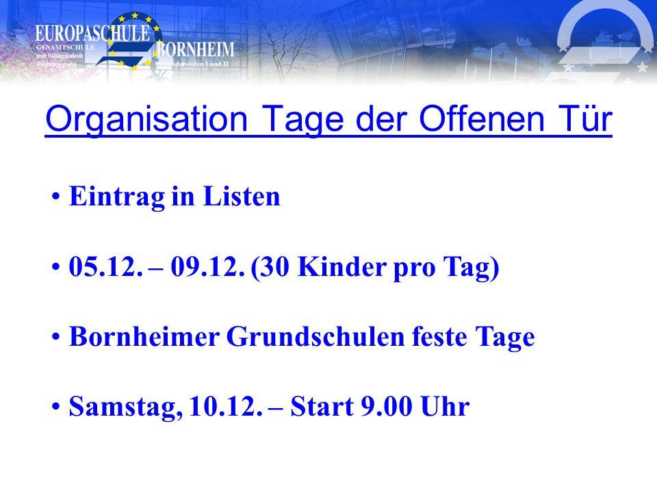 Organisation Tage der Offenen Tür Eintrag in Listen 05.12. – 09.12. (30 Kinder pro Tag) Bornheimer Grundschulen feste Tage Samstag, 10.12. – Start 9.0
