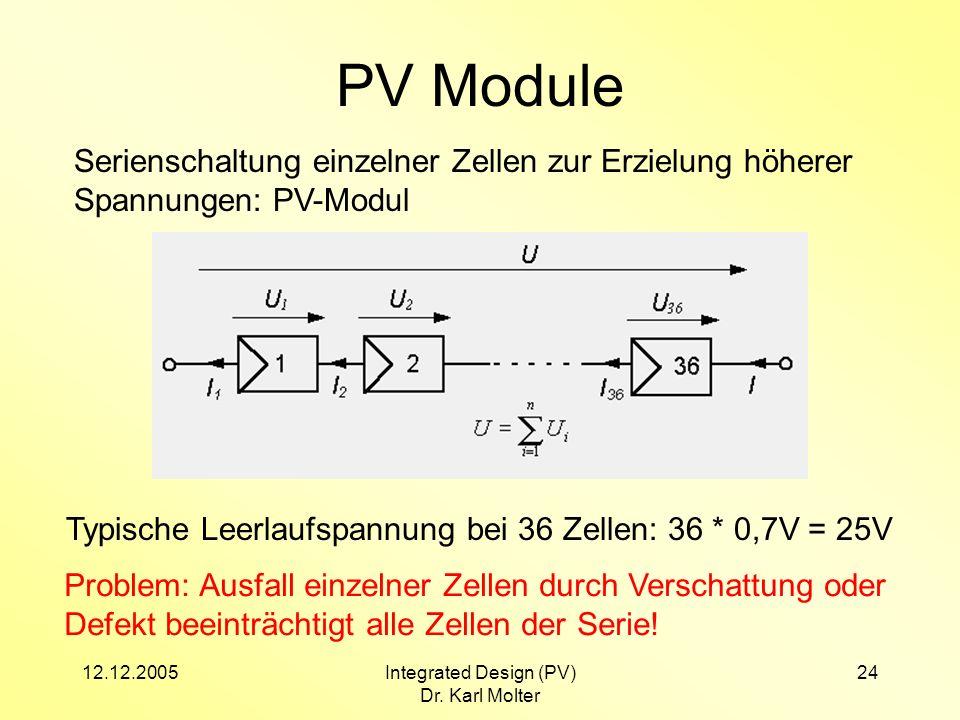 12.12.2005Integrated Design (PV) Dr. Karl Molter 24 PV Module Serienschaltung einzelner Zellen zur Erzielung höherer Spannungen: PV-Modul Typische Lee