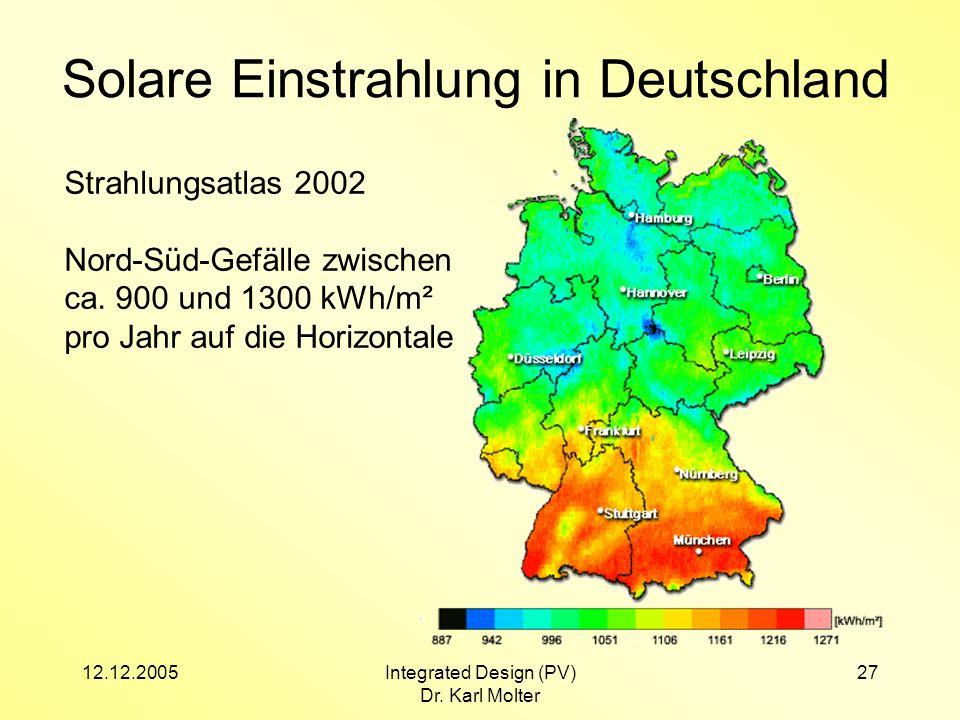 12.12.2005Integrated Design (PV) Dr. Karl Molter 27 Solare Einstrahlung in Deutschland Strahlungsatlas 2002 Nord-Süd-Gefälle zwischen ca. 900 und 1300