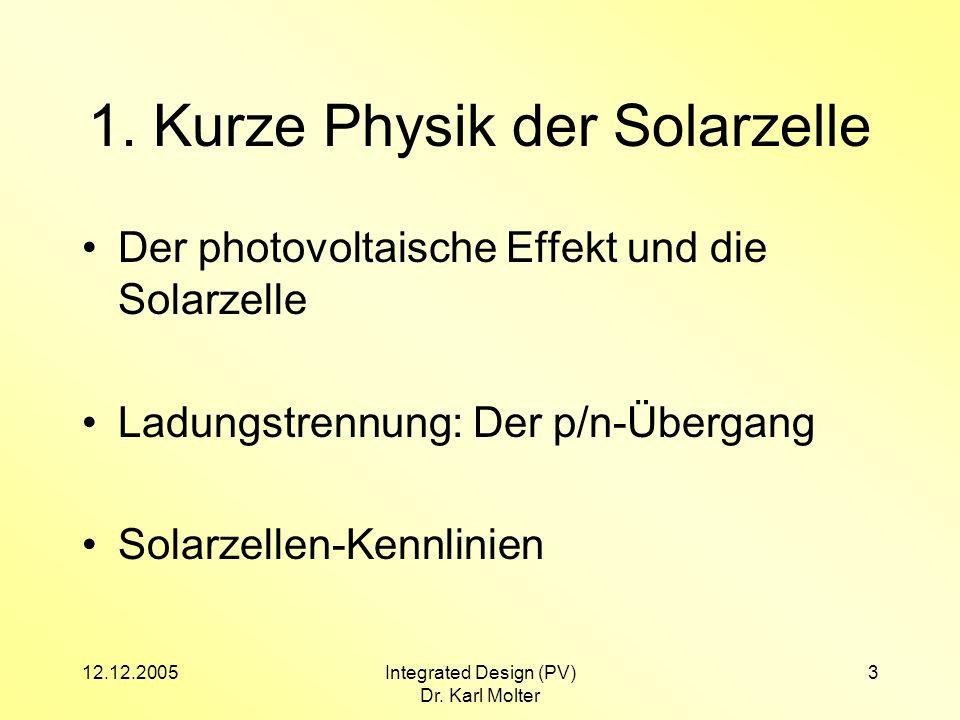 12.12.2005Integrated Design (PV) Dr. Karl Molter 3 1. Kurze Physik der Solarzelle Der photovoltaische Effekt und die Solarzelle Ladungstrennung: Der p