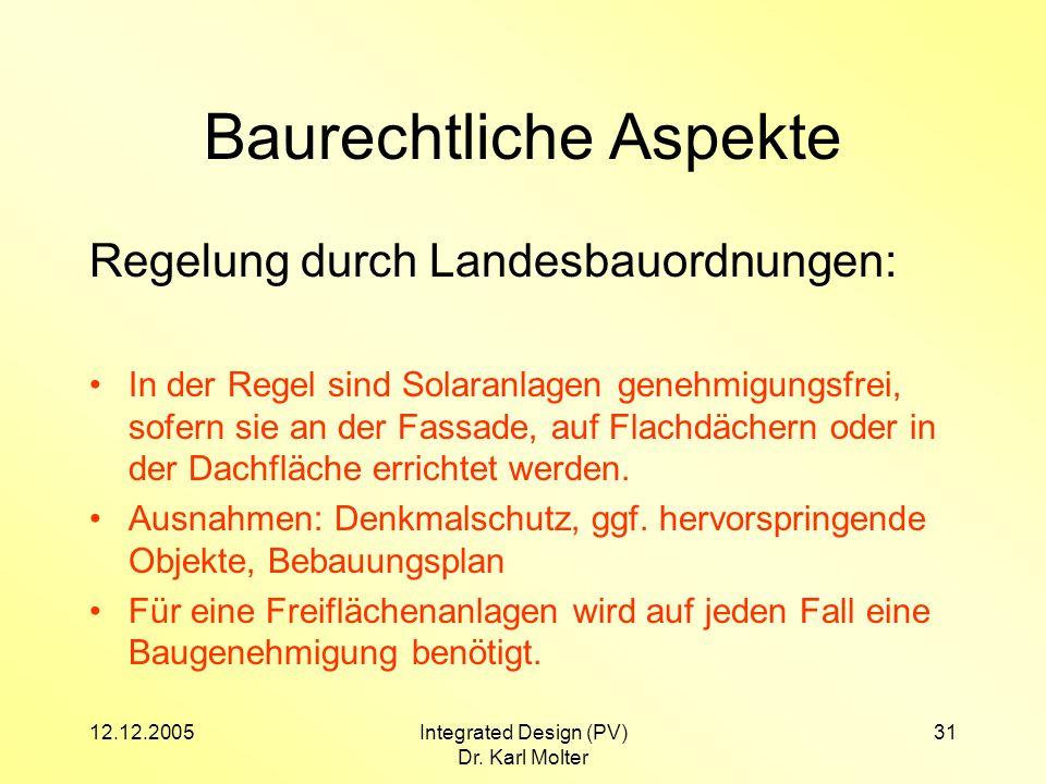 12.12.2005Integrated Design (PV) Dr. Karl Molter 31 Baurechtliche Aspekte Regelung durch Landesbauordnungen: In der Regel sind Solaranlagen genehmigun