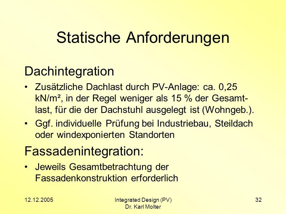 12.12.2005Integrated Design (PV) Dr. Karl Molter 32 Statische Anforderungen Dachintegration Zusätzliche Dachlast durch PV-Anlage: ca. 0,25 kN/m², in d