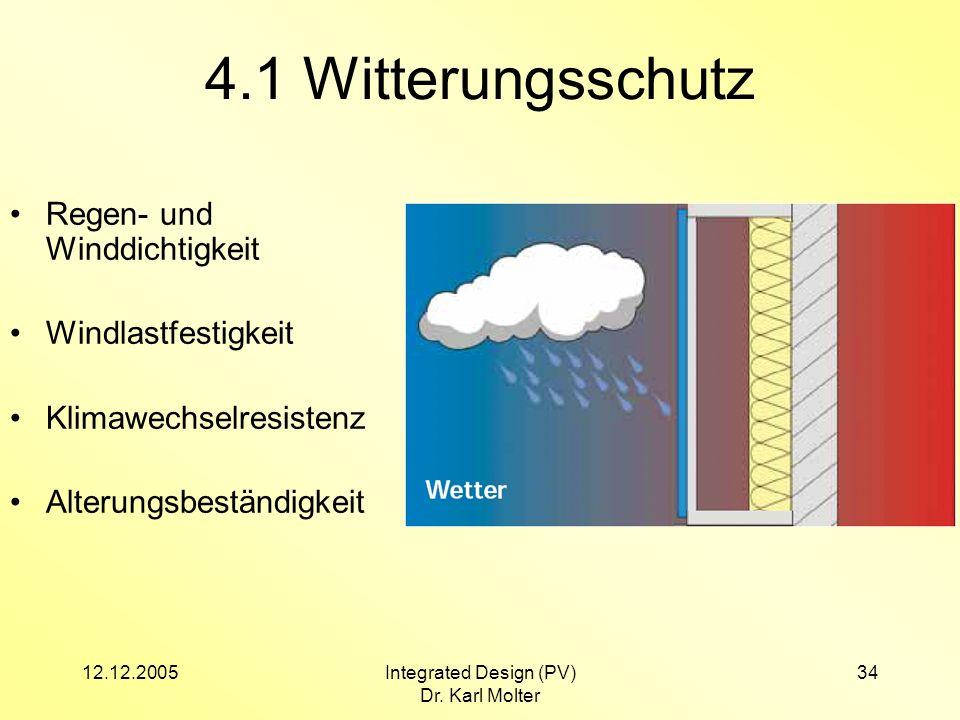 12.12.2005Integrated Design (PV) Dr. Karl Molter 34 4.1 Witterungsschutz Regen- und Winddichtigkeit Windlastfestigkeit Klimawechselresistenz Alterungs