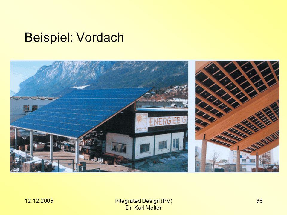 12.12.2005Integrated Design (PV) Dr. Karl Molter 36 Beispiel: Vordach