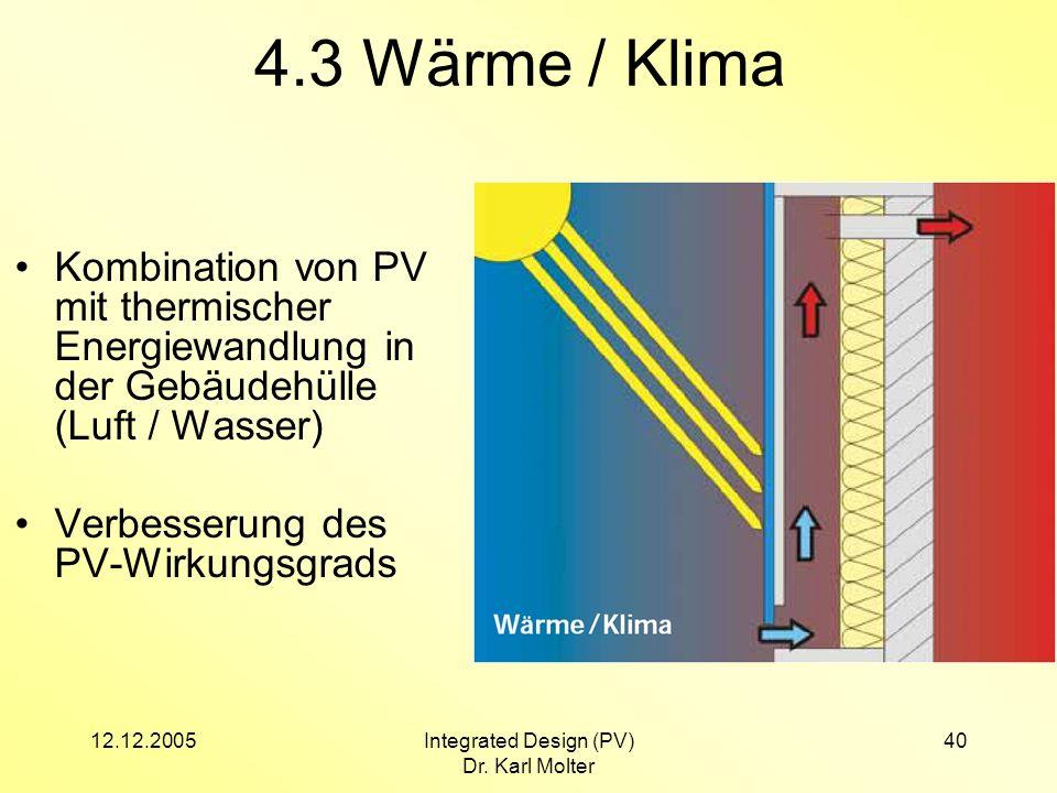12.12.2005Integrated Design (PV) Dr. Karl Molter 40 4.3 Wärme / Klima Kombination von PV mit thermischer Energiewandlung in der Gebäudehülle (Luft / W